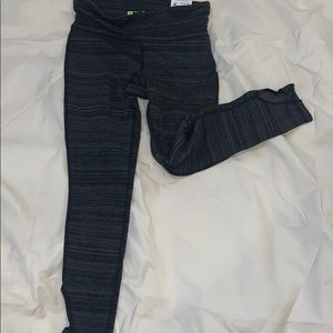 Black and grey  capris workout with key pocket